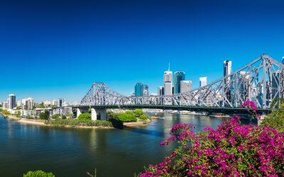 BRISBANE, AUS - AUGUST 9 2016: Panoramic view of Brisbane Skylin