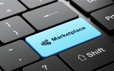 Marketing concept: Calculator and Marketplace on computer